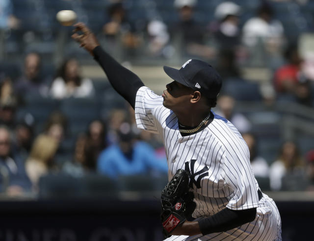 New York Yankees starting pitcher Luis Severino throws during the first inning of the baseball game against the Toronto Blue Jays at Yankee Stadium Sunday, April 22, 2018 in New York. (AP Photo/Seth Wenig)