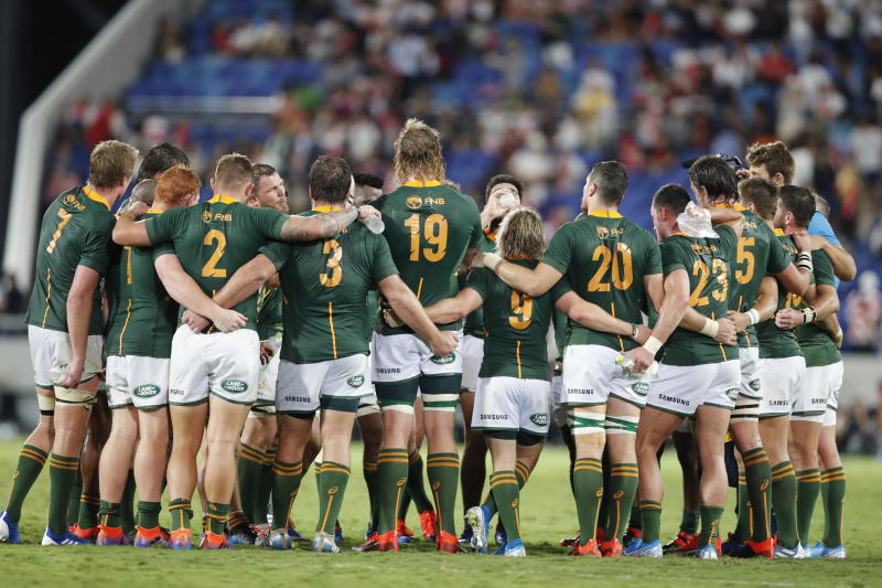Players from the team South Africa huddle after a rugby match against Japan at Kumagaya Rugby Stadium Friday, Sept. 6, 2019, in Saitama, Japan. South Africa won 41-7. (AP Photo/Shuji Kajiyama)