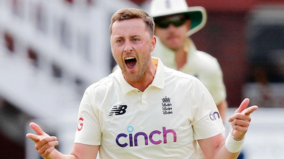 Pictured here, England quick Ollie Robinson celebrates a wicket against New Zealand.