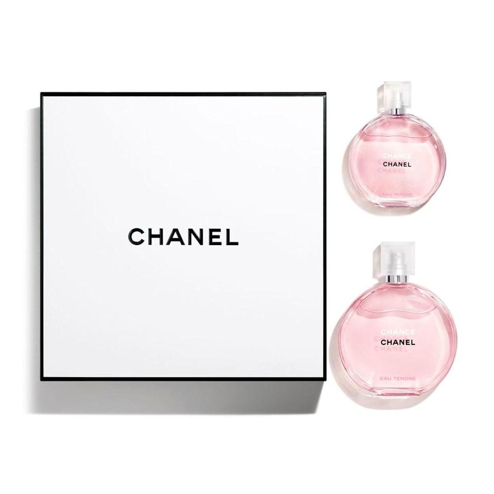 """Can you say """"chic""""? Now you can have one of these light floral perfumes for your vanity, and the mini for your bag (or give one to a friend and make their life). Whatever you do, keep the gift box and stare at it whenever you want to bring out your inner rich bitch. $177, Nordstrom. <a href=""""https://www.nordstrom.com/s/chanel-chance-eau-tendre-eau-de-toilette-set/5591984?origin=category-personalizedsort&breadcrumb=Home%2FAnniversary%20Sale%2FBeauty%20Exclusives&color=none"""" rel=""""nofollow noopener"""" target=""""_blank"""" data-ylk=""""slk:Get it now!"""" class=""""link rapid-noclick-resp"""">Get it now!</a>"""