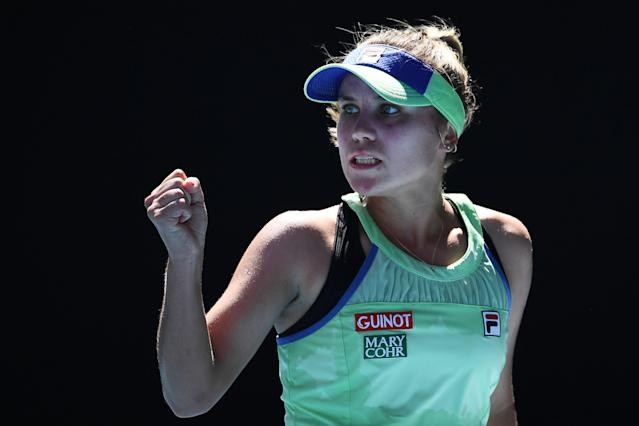Sofia Kenin knocked off No. 1 Ashleigh Barty in straight sets to reach the her first ever Grand Slam final in Melbourne. (Photo by Manan Vatsyayana/AFP/Getty Images)