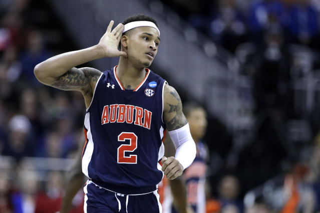 Auburn's Bryce Brown (2) celebrates during the second half of the Midwest Regional final game against Kentucky in the NCAA men's college basketball tournament Sunday, March 31, 2019, in Kansas City, Mo. (AP Photo/Charlie Riedel)