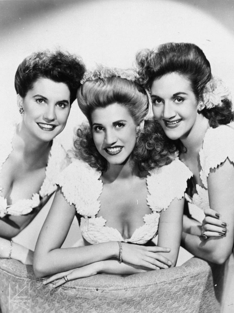 FILE - This 1947 publicity photo shows the pop vocal trio, The Andrews Sisters, from left, Maxine Andrews, Patty Andrews, and LaVerne Andrews. Patty Andrews, the last survivor of the three singing Andrews sisters, has died in Los Angeles at age 94. Andrews died Wednesday, Jan. 30, 2013, at her home in suburban Northridge of natural causes, said family spokesman Alan Eichler. (AP Photo, File)