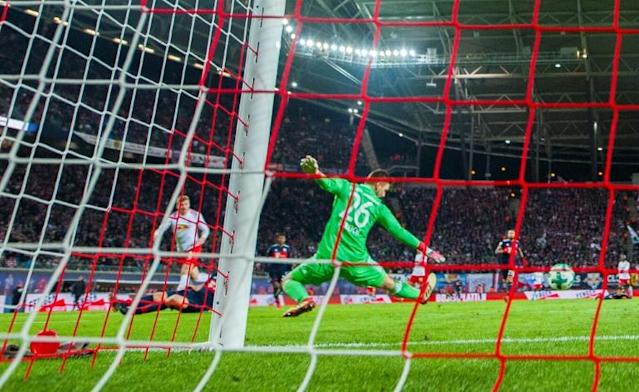 Winning moment: Timo Werner fires Leipzig's winner in the 2-1 win over Bayern Munich