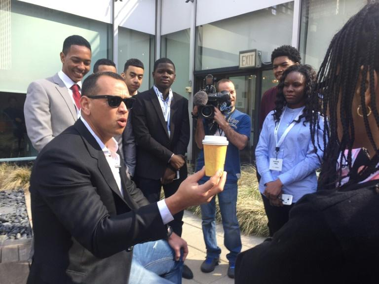 "Baseball legend Alex A-Rod Rodriguez talks with students from high schools and colleges in the Bronx about a real estate literacy program, ""Project Destined"", on March 3, 2018 at Viacom in Times Square, New York City"