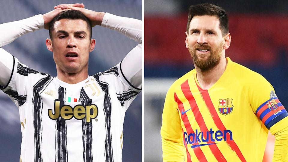 Cristiano Ronaldo (pictured left) and Lionel Messi (pictured right) will both miss the Champions League quarter-final for the first time since 2004/05. (Getty Images)