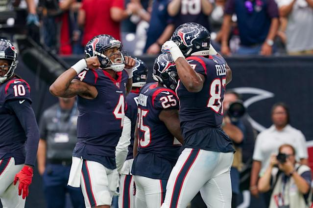 Houston Texans quarterback Deshaun Watson (4) is coming off a huge game against the Falcons. (Getty Images)