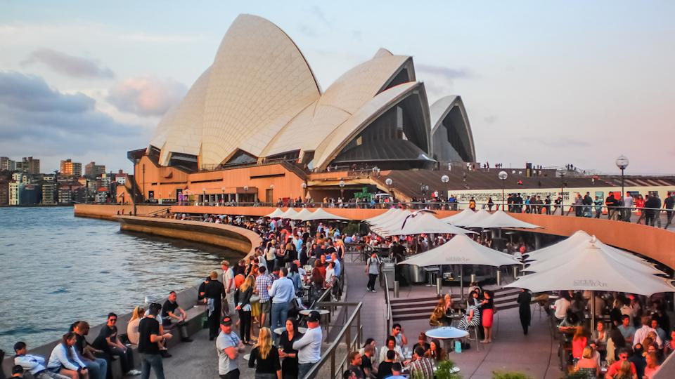 Australia on 18 September 2012 .It was designed by Danish archit, How Much to Tip When Traveling to These 25 Countries, SYDNEY-SEPTEMBER 18 : Party people at Sydney opera house in Sydn