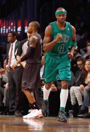 NEW YORK, NY - DECEMBER 25: Jason Terry #4 of the Boston Celtics pumps his fist after hitting a basket against the Brooklyn Nets at the Barclays Center on December 25, 2012 in the Brooklyn borough of New York City. (Photo by Mike Stobe/Getty Images)
