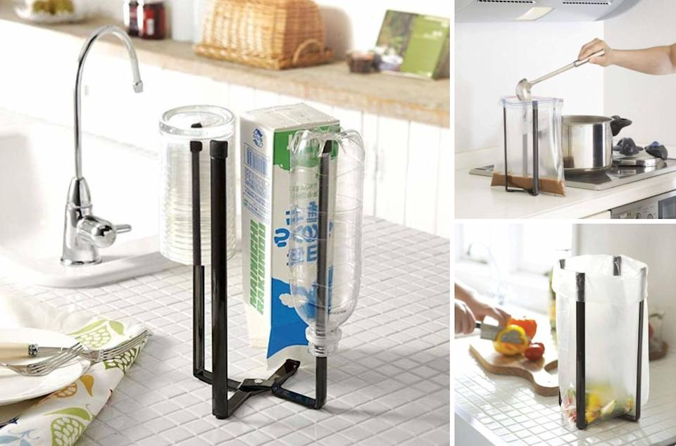 """Not only will this prop open plastic bags, but it also doubles as a sleek drying stand for bottles and glassware and as an easy way to hold scraps while cooking. It's basically the helpful kitchen assistant you never knew you needed.<br /><br /><strong>Promising review:</strong>""""I stumbled on this product searching for something to dry bottles. I am so glad I took a chance on it. I love it for drying bottles. It does everything the reviews list. I was sold on it because it looked so easy to store, but honestly, it hasn't left my countertop since it arrived. The way it opens and adjusts lends itself to any number of uses. My favorite part it that I can hold up large awkward items like cookie sheets and a 9x13 pan to dry. I have used it for holding open gallon bags to fill. Such a simple design and well-executed."""" —<a href=""""https://www.amazon.com/dp/B004TIVSP0?tag=huffpost-bfsyndication-20&ascsubtag=5833640%2C28%2C43%2Cd%2C0%2C0%2C0%2C962%3A1%3B901%3A2%3B900%3A2%3B974%3A3%3B975%3A2%3B982%3A2%2C16261667%2C0"""" target=""""_blank"""" rel=""""noopener noreferrer"""">My Old KY Home<br /></a><br /><strong>Get it from Amazon for<a href=""""https://www.amazon.com/dp/B004TIVSP0?tag=huffpost-bfsyndication-20&ascsubtag=5833640%2C28%2C43%2Cd%2C0%2C0%2C0%2C962%3A1%3B901%3A2%3B900%3A2%3B974%3A3%3B975%3A2%3B982%3A2%2C16261667%2C0"""" target=""""_blank"""" rel=""""noopener noreferrer"""">$17.99+</a>(available in two colors).</strong>"""