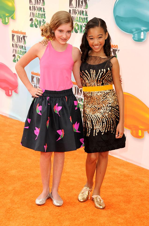 Willow Shields and Amandla Stenberg arrive at the 2012 Nickelodeon Kids' Choice Awards in Los Angeles, California.
