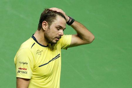 Tennis - ATP 500 - Rotterdam Open - Rotterdam Ahoy, Rotterdam, Netherlands - February 17, 2019 Switzerland's Stan Wawrinka reacts during his Final match against France's Gael Monfils REUTERS/Eva Plevier