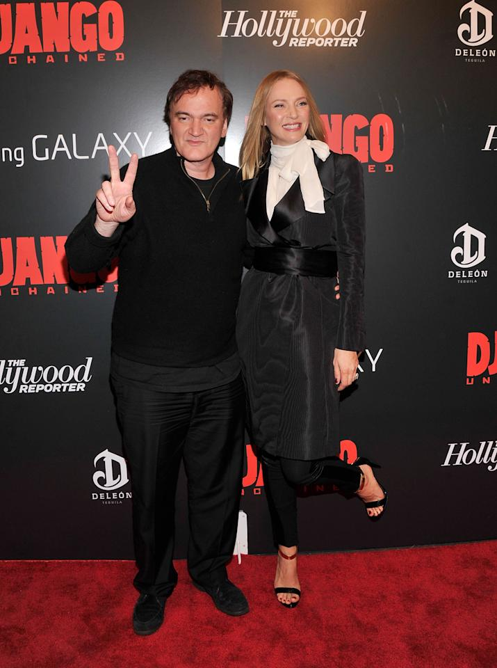 """NEW YORK, NY - DECEMBER 11:  Quentin Tarantino and Uma Thurman attends a screening of """"Django Unchained"""" hosted by The Weinstein Company with The Hollywood Reporter, Samsung Galaxy and The Cinema Society at Ziegfeld Theater on December 11, 2012 in New York City.  (Photo by Stephen Lovekin/Getty Images)"""