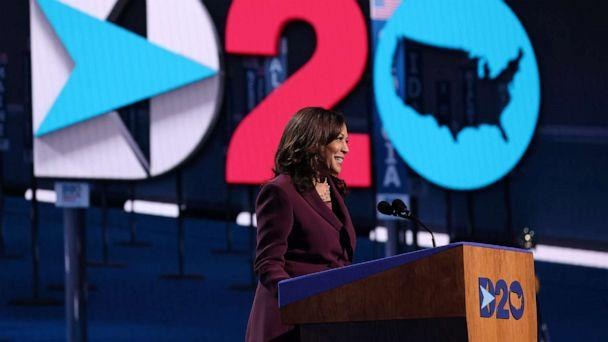 PHOTO: Democratic vice presidential nominee Sen. Kamala Harris speaks on the third night of the Democratic National Convention from the Chase Center, as she accepts the nomination, Aug. 19, 2020 in Wilmington, Del. (Win McNamee/Getty Images)