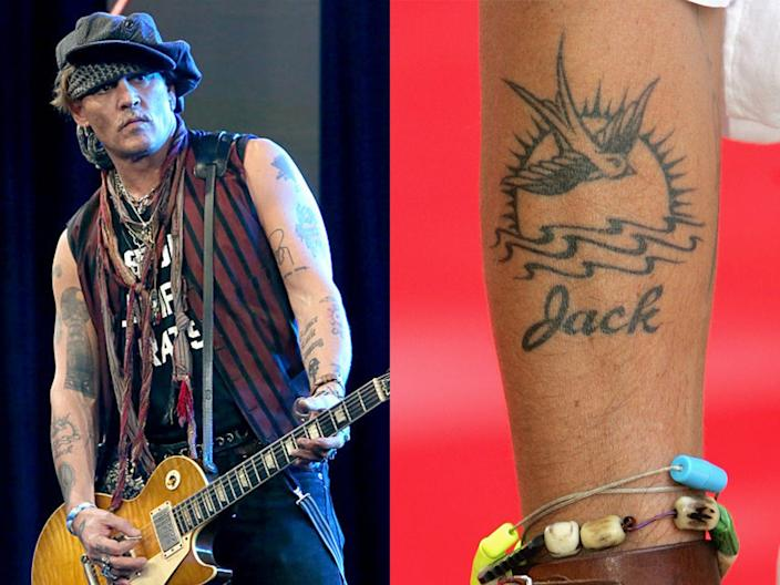 "Johnny Depp's tattoo is similar to his character's ink in ""Pirates of the Caribbean."""