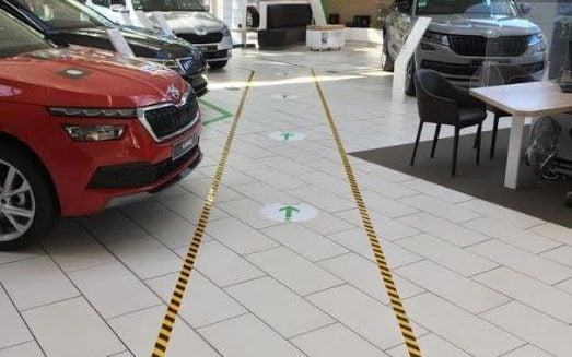 One-way system in car dealership