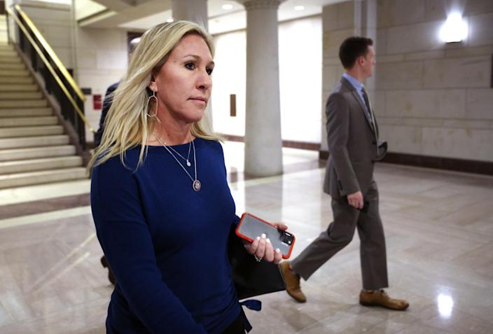 <p>U.S. Rep. Marjorie Taylor Greene (R-GA) arrives for a House Republican caucus candidate forum to replace outgoing conference chair, Rep. Liz Cheney (R-WY) at the Capitol on May 13, 2021 in Washington, DC. </p> (Photo by Kevin Dietsch/Getty Images)