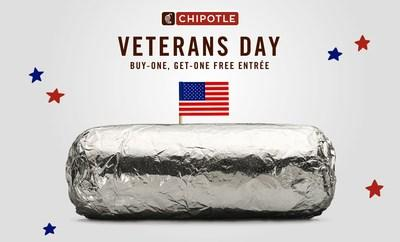 Chipotle announced today that it will offer its annual Military Appreciation BOGO deal in celebration of military service members around the country.