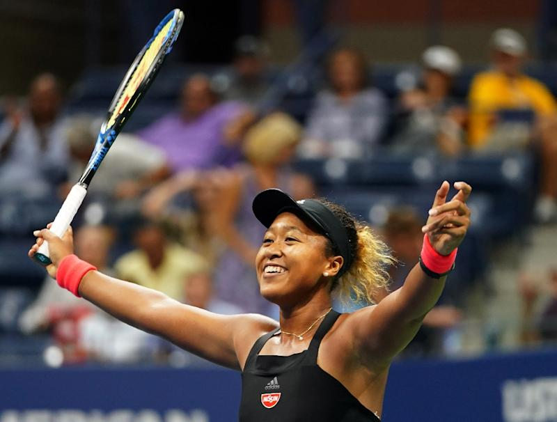 Moment of history Naomi Osaka celebrates her victory over Madison Keys