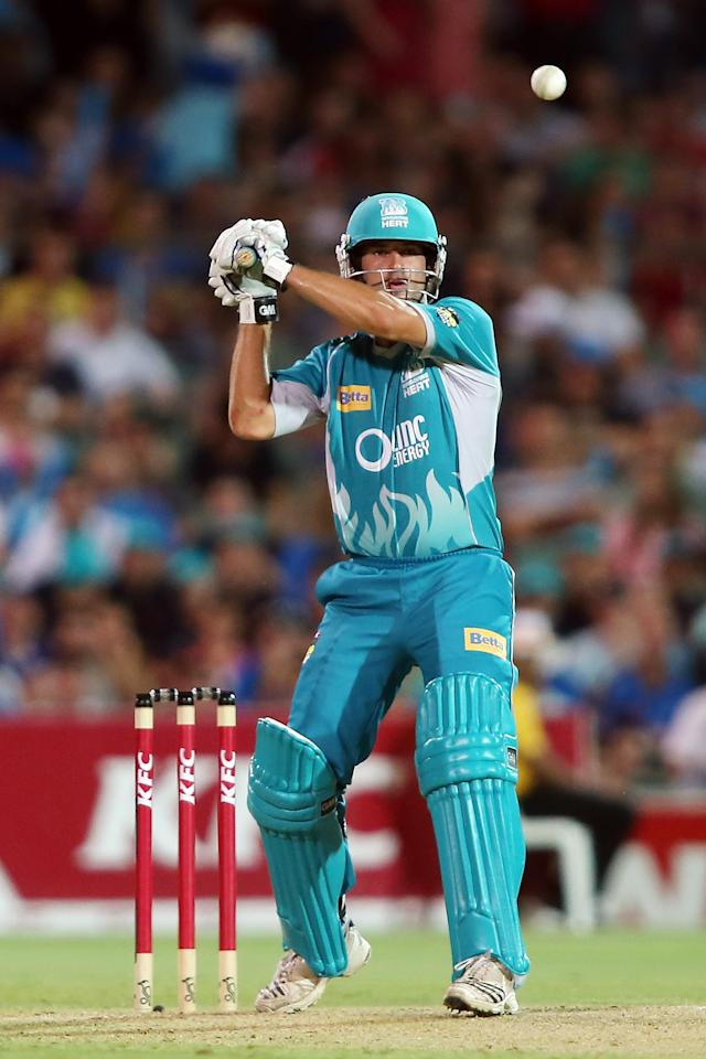 ADELAIDE, AUSTRALIA - DECEMBER 13:  Joe Burns of the Heat bats during the Big Bash League match between the Adelaide Strikers and the Brisbane Heat at Adelaide Oval on December 13, 2012 in Adelaide, Australia.  (Photo by Morne de Klerk/Getty Images)