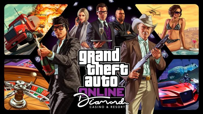 A collage of in-game characters and action scenes from Take-Two's Grand Theft Auto franchise