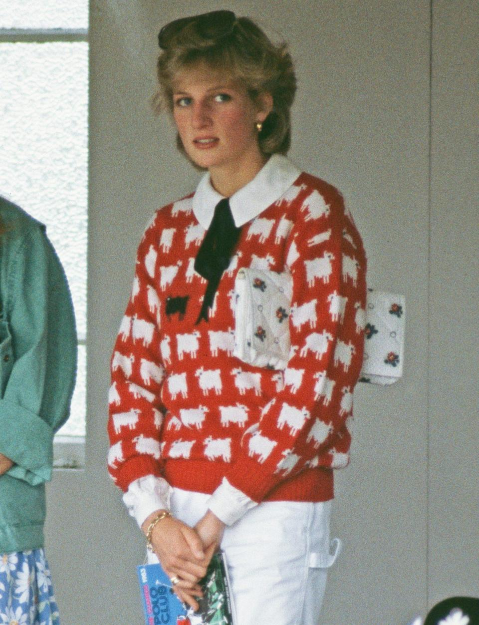 "<p>Princess Diana's <a href=""https://people.com/royals/princess-diana-black-sheep-sweater/"" rel=""nofollow noopener"" target=""_blank"" data-ylk=""slk:black sheep sweater"" class=""link rapid-noclick-resp"">black sheep sweater</a>, which she wore to two polo matches in the 1980s, sent a clear message of how she felt as part of the royal family. (And now the sweater is making a <a href=""https://people.com/royals/princess-diana-sweaters-comeback-rowing-blazers/"" rel=""nofollow noopener"" target=""_blank"" data-ylk=""slk:comeback"" class=""link rapid-noclick-resp"">comeback</a> for the new generation!)</p>"