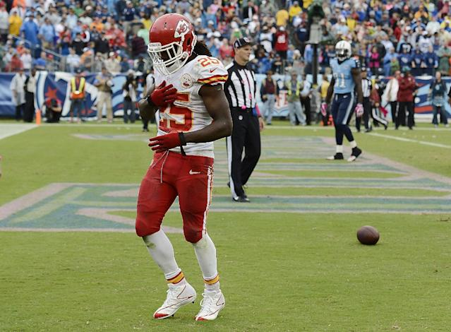 Kansas City Chiefs running back Jamaal Charles (25) celebrates after scoring a touchdown against the Tennessee Titans on a 1-yard run in the fourth quarter of an NFL football game on Sunday, Oct. 6, 2013, in Nashville, Tenn. (AP Photo/Mark Zaleski)