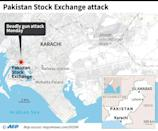 Map of Karachi in Pakistan locating the stock exchange where a fatal gun attack took place on Monday