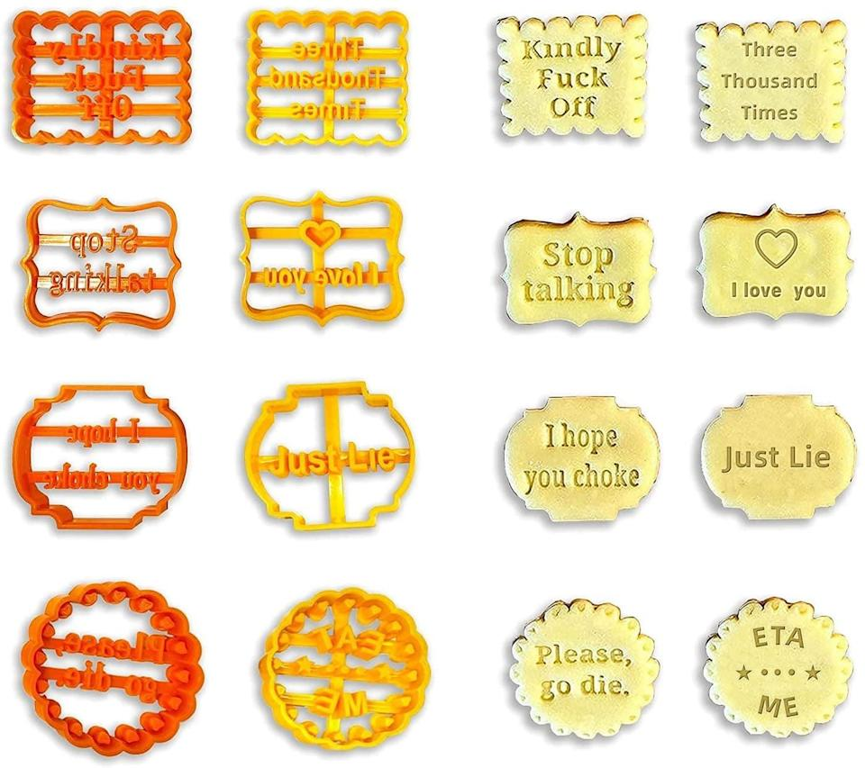 <p>If you're shopping for a fun gift to give the chef in your life, the <span> Cookie Molds With Mean Words</span> ($13, originally $16) is such a good find. The eight-piece set comes with a variety of insults and funny messages, perfect for expressing their mood through food. </p>
