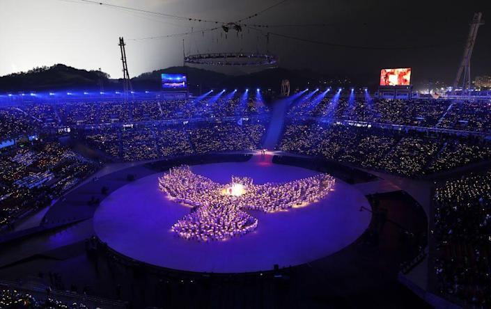 """<p>At the 2018 Pyeongchang, South Korea Winter Olympics, the opening ceremony centered on the <a href=""""https://www.npr.org/sections/thetorch/2018/02/09/584368072/winter-olympics-opening-ceremony-pyeongchang-welcomes-the-world"""" rel=""""nofollow noopener"""" target=""""_blank"""" data-ylk=""""slk:themes"""" class=""""link rapid-noclick-resp"""">themes</a> of """"peace, passion, harmony, and convergence.""""</p>"""