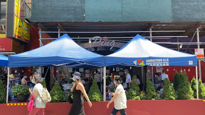 Local nonprofit Chinatown Partnership has helped furnish outdoor dining spots for restaurants.