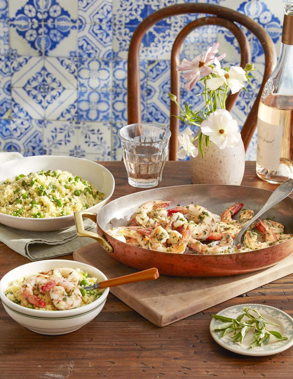 """<p>This lovely shrimp-and-couscous dish gets a huge burst of flavor from the floral combination of thyme, rosemary, tarragon, and lavender.</p><p><strong><a href=""""https://www.countryliving.com/food-drinks/a32042730/herbes-de-provence-shrimp-with-basil-and-pea-couscous/"""" rel=""""nofollow noopener"""" target=""""_blank"""" data-ylk=""""slk:Get the recipe"""" class=""""link rapid-noclick-resp"""">Get the recipe</a>.</strong></p><p><strong><a class=""""link rapid-noclick-resp"""" href=""""https://www.amazon.com/Lagostina-Q554SA64-Martellata-Hammered-Stainless/dp/B014X01E66?tag=syn-yahoo-20&ascsubtag=%5Bartid%7C10050.g.1115%5Bsrc%7Cyahoo-us"""" rel=""""nofollow noopener"""" target=""""_blank"""" data-ylk=""""slk:SHOP COPPER COOKWARE"""">SHOP COPPER COOKWARE</a><br></strong></p>"""