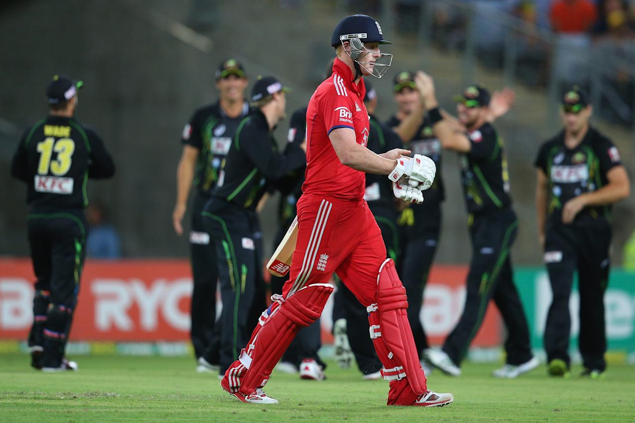 SYDNEY, AUSTRALIA - FEBRUARY 02:  Ben Stokes of England looks dejected as he leaves the field after being dismissed during game three of the International Twenty20 series between Australia and England at ANZ Stadium on February 2, 2014 in Sydney, Australia.  (Photo by Mark Kolbe/Getty Images)