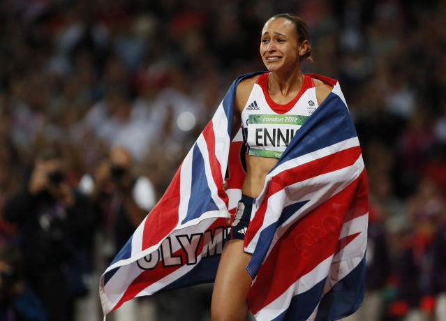 Britain's Jessica Ennis celebrates winning her women's heptathlon 800m heat at the London 2012 Olympic Games at the Olympic Stadium August 4, 2012. Ennis was the overall winner in the heptathlon. REUTERS/Lucy Nicholson (BRITAIN - Tags: SPORT ATHLETICS OLYMPICS TPX IMAGES OF THE DAY)