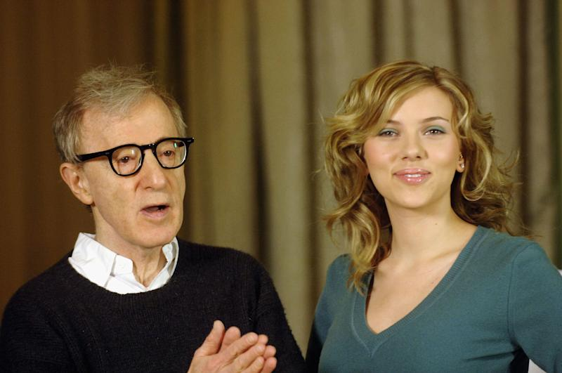 "ROME, ITALY - DECEMBER 21: Director Woody Allen and actress Scarlett Johansson attend a photocall to promote their new film ""Match Point"" at the Hasler Hotel on December 21, 2005 in Rome, Italy. (Photo by Franco Origlia/Getty Images)"