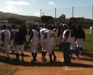 Richard Samudio, No. 24 at right, had a career game while hitting his first homer — YouTube