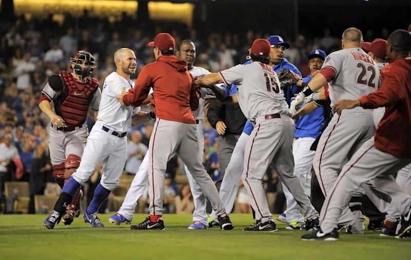 A scuffle breaks out after Los Angeles Dodgers starting pitcher Zack Greinke was hit by a pitch during the seventh inning of their baseball game against the Arizona Diamondbacks, Tuesday, June 11, 2013, in Los Angeles. (AP Photo/Mark J. Terrill)