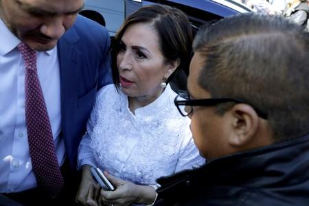 FILE PHOTO: Former Minister of Social Development Rosario Robles arrives for a hearing on corruption charges at a court in Mexico City