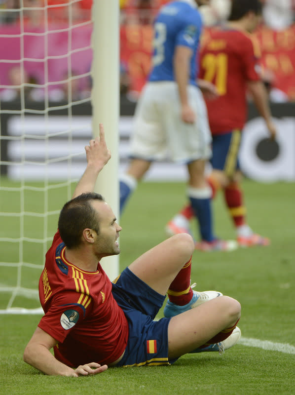 Spanish midfielder Andres Iniesta reacts during the Euro 2012 championships football match Spain vs Italy on June 10, 2012 at the Gdansk Arena. AFP PHOTO / PIERRE-PHILIPPE MARCOUPIERRE-PHILIPPE MARCOU/AFP/GettyImages