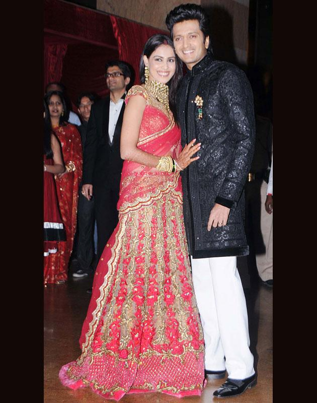 The newly weds Genelia D'Souza, Riteish Deshmukh arrives at Grand Hyatt for the reception
