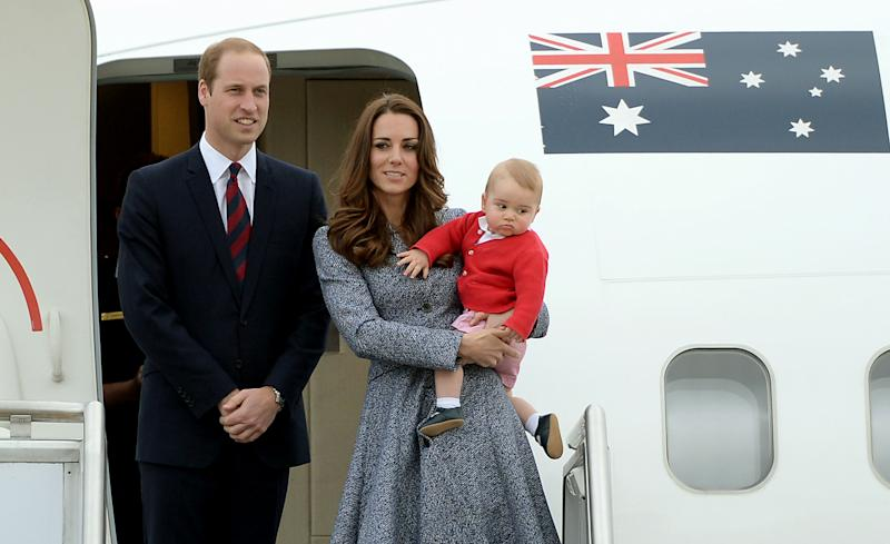 The Duke and Duchess of Cambridge and Prince George depart Canberra on the Royal Australian Air Force aircraft to transfer to an international commercial flight to London during the eighteenth day of their official tour to New Zealand and Australia.
