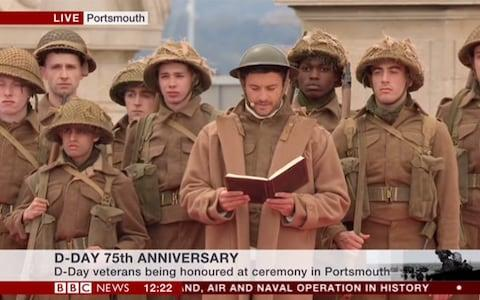 <span>Jonathan Bailey, dressed in 1940's military costume, reads from the memories of Royal Naval Electrician RG Watts </span> <span>Credit: BBC </span>