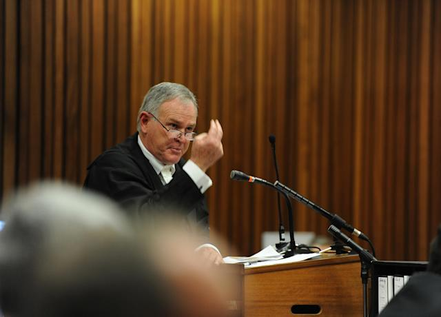 BY COURT ORDER, THESE IMAGES ARE FREE TO USE. PRETORIA, SOUTH AFRICA - APRIL 16: (SOUTH AFRICA OUT): Prosecutor Gerrie Nel questions forensic expert, Roger Dixon, in the Pretoria High Court on April 16, 2014, in Pretoria, South Africa. Oscar Pistorius stands accused of the murder of his girlfriend, Reeva Steenkamp, on February 14, 2013. This is Pistorius' official trial, the result of which will determine the paralympian athlete's fate. (Photo by Werner Beukes/SAPA/Gallo Images/Getty Images)