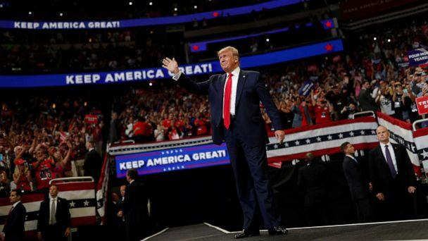 PHOTO: President Donald Trump reacts on stage formally kicking off his re-election bid with a campaign rally in Orlando, Fla., June 18, 2019. (Carlos Barria/Reuters)
