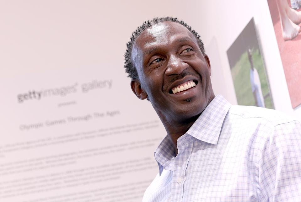 LONDON, ENGLAND - AUGUST 09:  Former sprinter Linford Christie poses for a photograph at his 'Journey to the Podium' exhibition at the Getty Images Gallery Westfield on August 9, 2012 in London, England. The exhibition features images of Linford Christie behind the scenes as he mentors young athletes in the run up to the 2012 London Olympic Games.  (Photo by Chris Jackson/Getty Images)