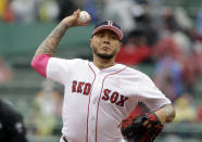 Boston Red Sox's Hector Velazquez delivers a pitch against the Seattle Mariners in the first inning of a baseball game at Fenway Park, Sunday, May 12, 2019, in Boston. (AP Photo/Steven Senne)