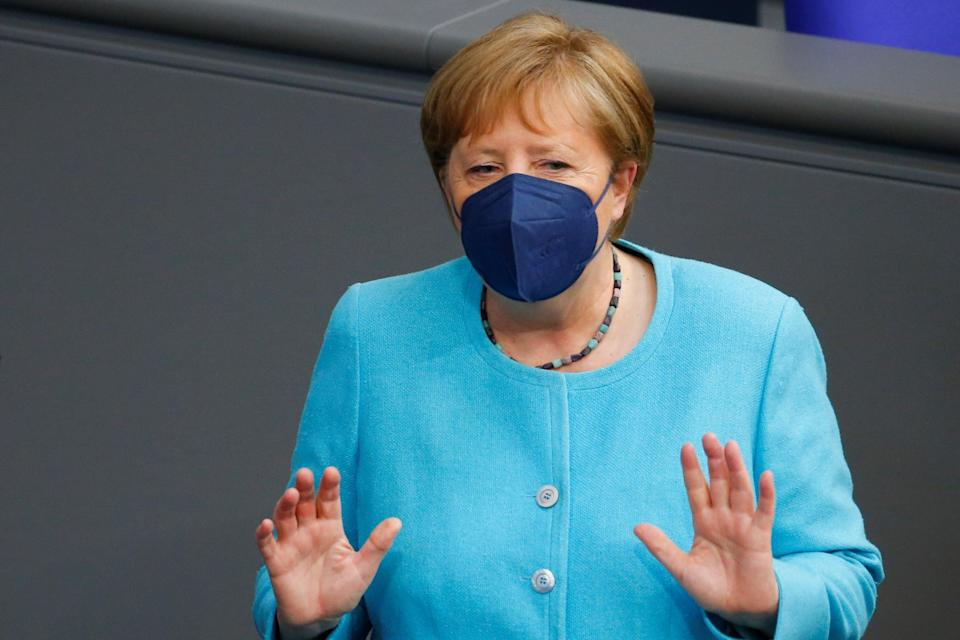 Angela Merkel arriving for the European Council meeting at the lower house of parliament Bundestag in Berlin (REUTERS)
