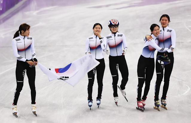 <p>MInjeong Choi celebrates as the Korea team win the gold medal following the Ladies Short Track Speed Skating 3000m Relay Final A on day eleven of the PyeongChang 2018 Winter Olympic Games at Gangneung Ice Arena on February 20, 2018 in Gangneung, South Korea. (Photo by Ian MacNicol/Getty Images) </p>