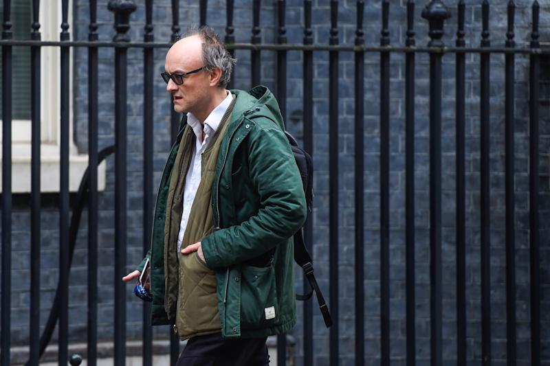 LONDON, ENGLAND - FEBRUARY 20: Dominic Cummings, Special Adviser to Britain's Prime Minister Boris Johnson, arrives in Downing Street on February 20, 2020 in London, England. Mr Cummings has been criticised after a blog post written by him suggested that the NHS could cover the cost of selecting babies to have higher IQs. (Photo by Peter Summers/Getty Images)