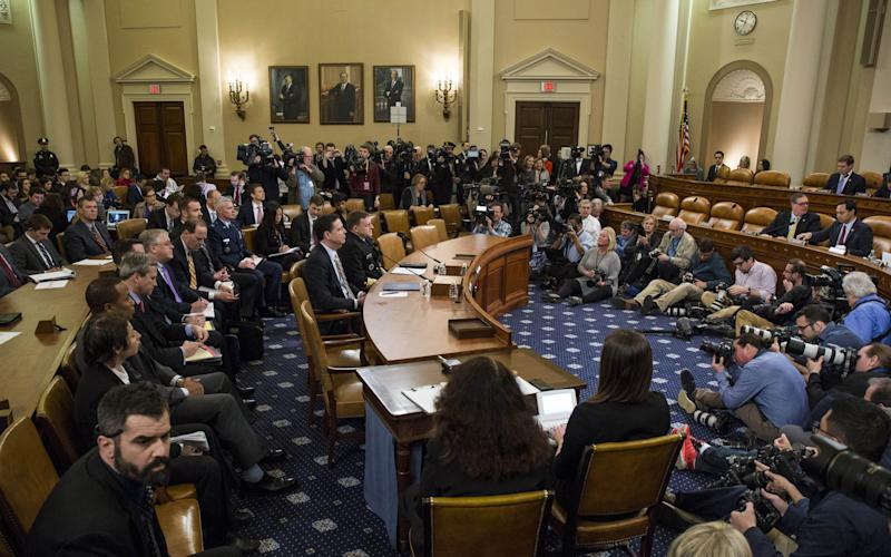 James Comey, Director of the Federal Bureau of Investigation (FBI), and Michael Rogers, Director of the National Security Agency are pictured at the start of a House Permanent Select Committee on Intelligence hearing concerning Russian meddling in the 2016 United States election, on Capitol Hill, March 20, 2017 in Washington, DC. - Credit:  Zach Gibson/Getty Images